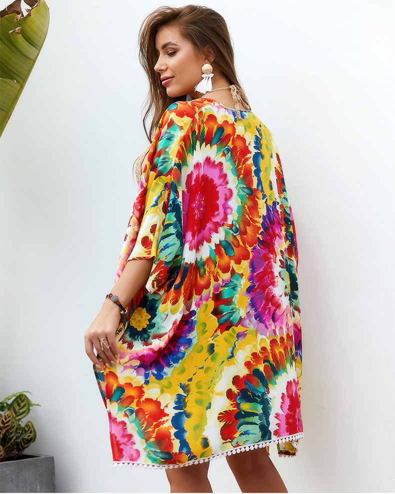 Original design amazon boho style shawl blouse jacket 2019 summer beach shawl dress