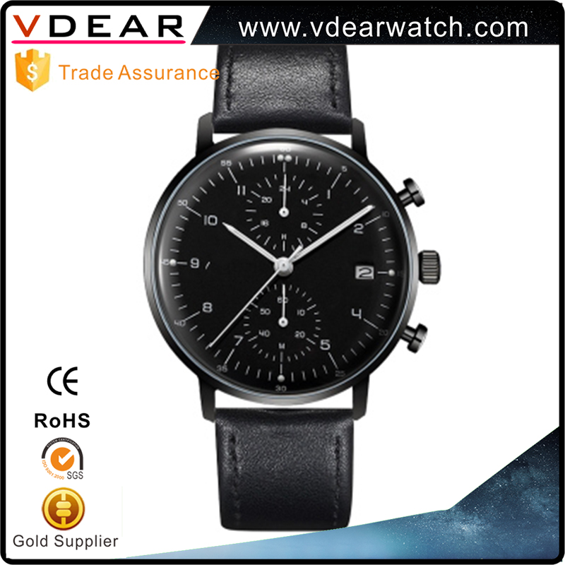 China manufacturer custom high quality curve glass stainless steel men chronograph watch luxury