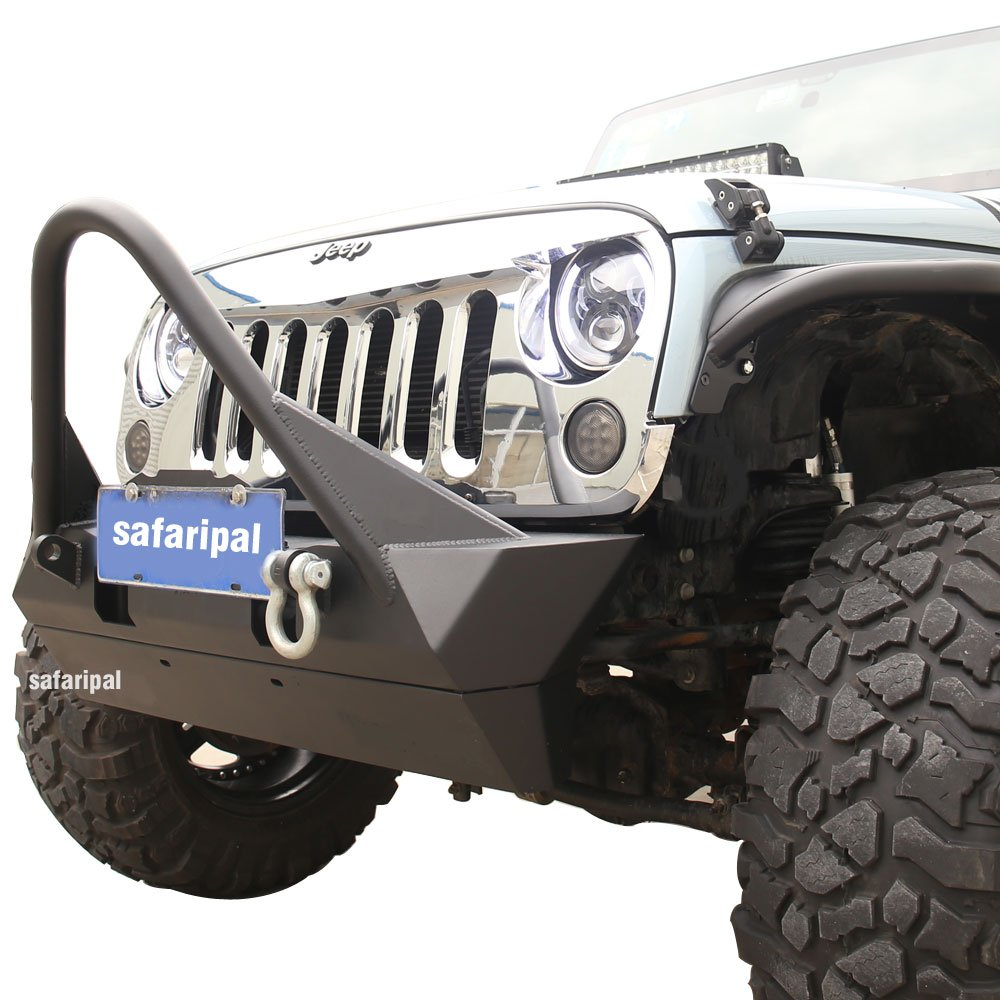 Safaripal Jeep Wrangler Stubby Front Bumper with Stinger Metal for Jeep Wrangler JK Rubicon Sahara Sports 2007-2017 Black