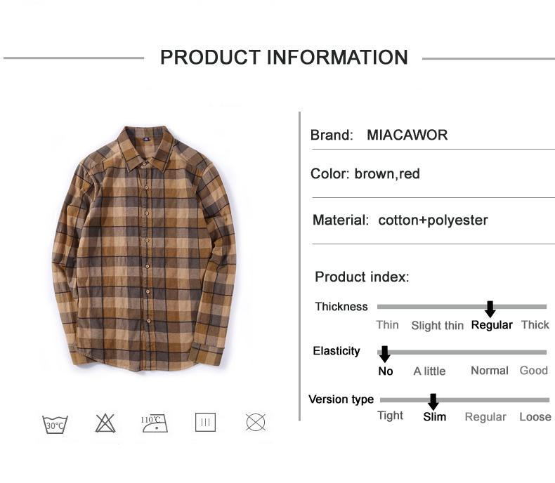 e3dbc3c44d MIACAWOR 2018 New brand Men Plaid Shirts 100% Cotton High Quality ...