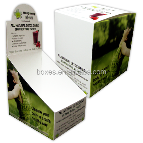 Custom design Energy drink paper counter display box , tear off top display box