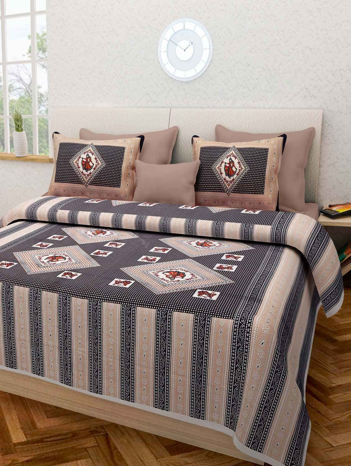 Get Quotations · Double Bed Sheet Rajasthani Print Double Bed Sheets Hand  Screen Flower Block Printing 100% Cotton