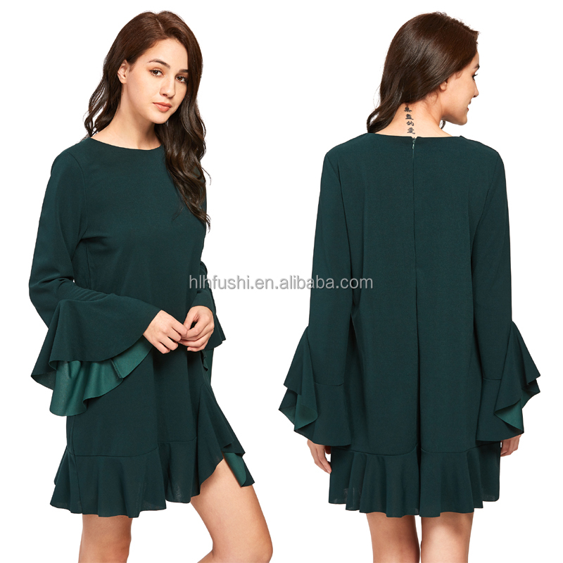 Plain Modern Ruffle Long Bell Sleeve Back Zipper Mini Dress