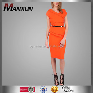 ad2d4c5146ebd Orange elegant peplum dress latest elegant office ladies dresses