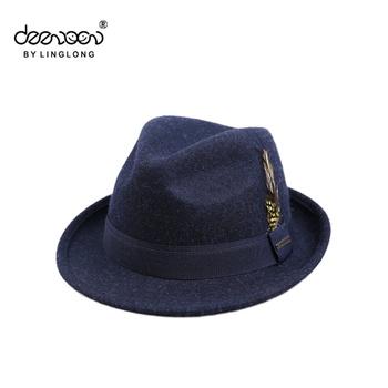 c7f23af7380 Wool Felt Fedora Men Hat Wholesale Feather Wool Felt Fedora Men Hat ...