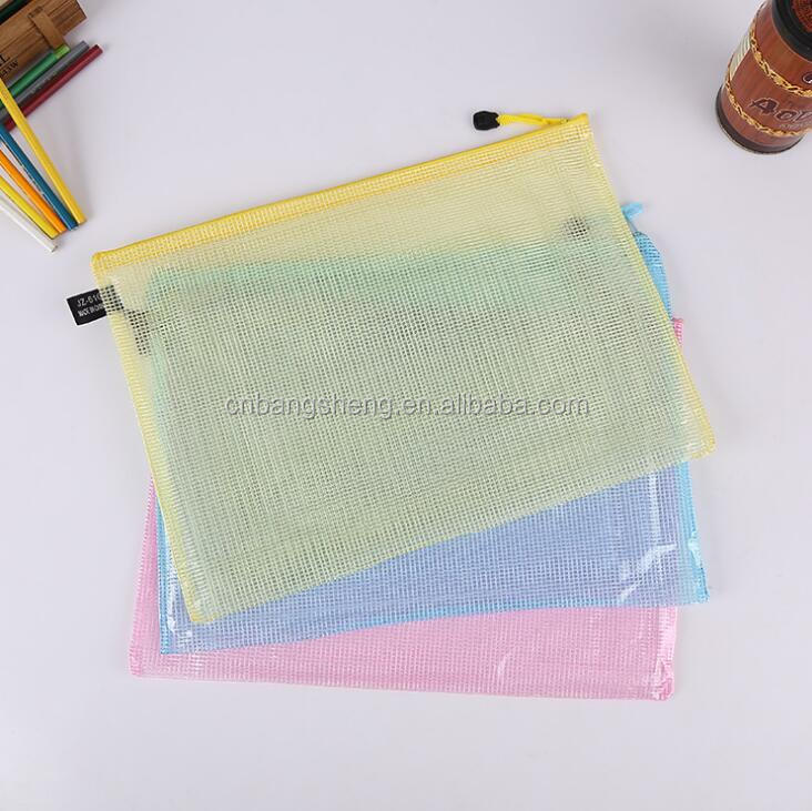 Customized print clear wholesale plastic pvc mesh stationery bag with ziplock