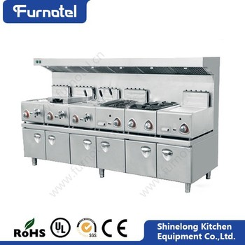 Commercial Stainless Steel 400 Series Gas Central Cooking Range With Hood Cooking Range Prices