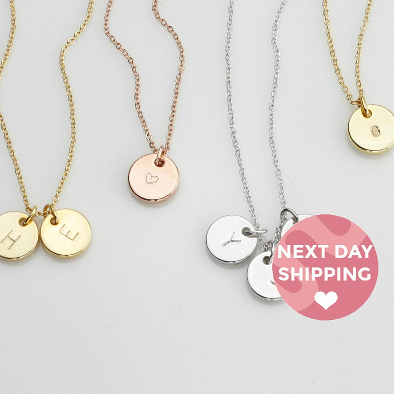 267a6f634b1 Get Quotations · Disc Initial Necklace Dainty Disc Necklace Bridesmaid Gift  Gift for Son Custom Necklace for Kids Family