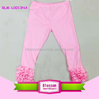 9ee20b4cb Icing baby leggings knitted OEM service wholesale kids cotton pants triple ruffle  children pink long icing