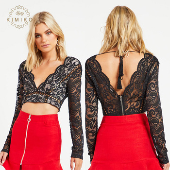 3c267e2d10403f Long Sleeve Sexy Black Lace Crop Top