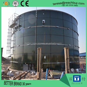 biogas anaerobic reactor or ECPC bolted steel tank for treatment of sludge, manure, wastewater, organic waste