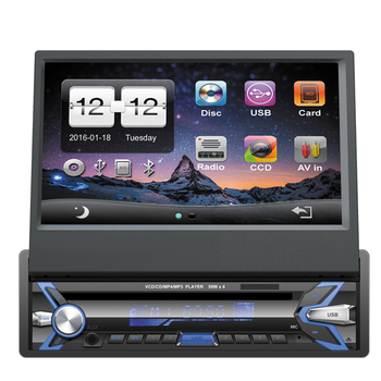 7inch Retractable 1din Car Dvd Player Gps Navigation System With Android  5 1 Wifi /mirror Link - Buy 7inch Car Dvd Player With Gps,1din 7inch Gps