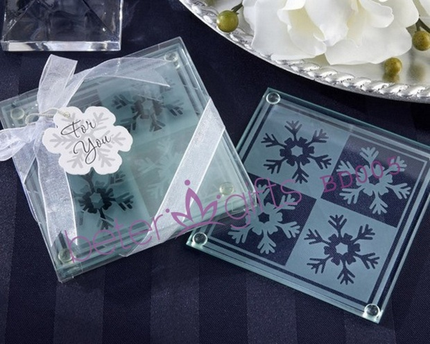 Kids Wedding Gifts: Shipping 100pcs=50box BD005 Snowflake Glass Coasters As