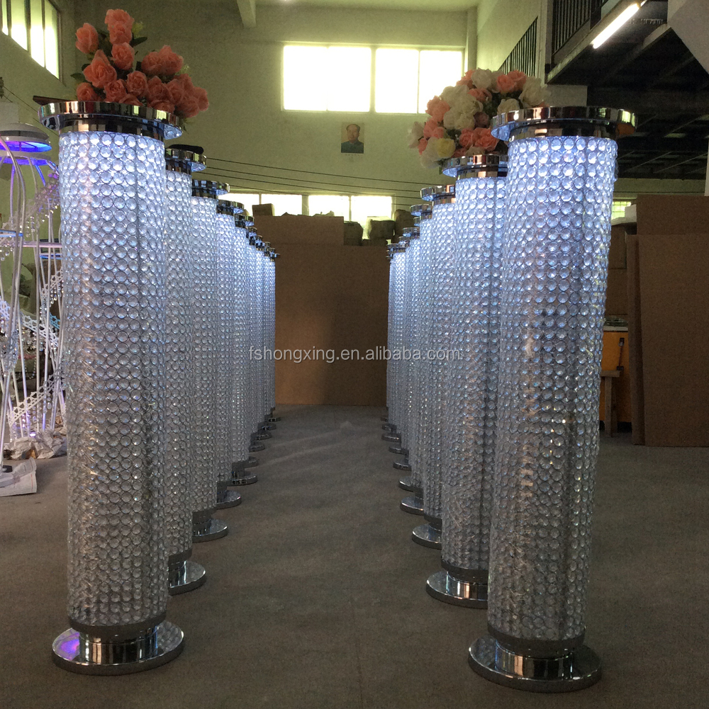 Hot sale crystal pillar with led light wedding stage for Stand decoration