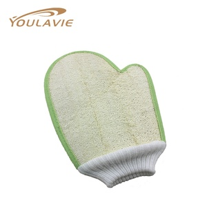 Youlavie Double Sides Natural Material Loofah Exfoliating Bath Glove/mitt