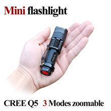 Mini LED Flashlight ZOOM 7W CREE 2000LM Waterproof LED light 3 Modes Zoomable LED Torch AA 14500 battery Flashlight Torch Lamp