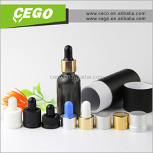 wholesale black glass dropper bottle 15ml 20ml 30ml cylinder paper box for eliquid glass bottle, cosmetic glass bottle