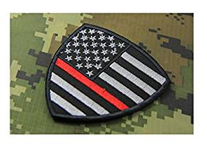 Shield Firefighter Thin Red Line United States Flag Patch Fire & Rescue EMT EMS Morale Patch Hook Backing