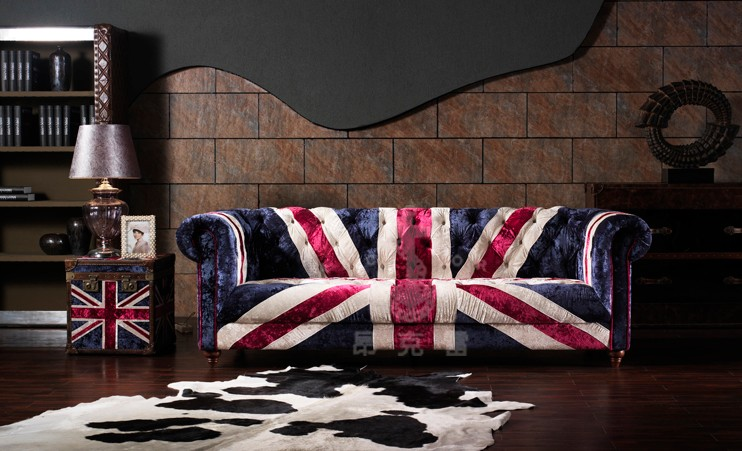 Union Jack ice velvet bluefabric sofa A105