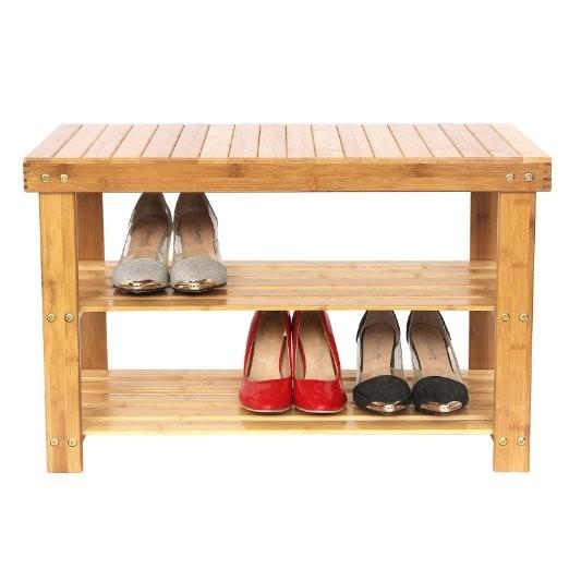 100 % Natural 3 tiers multipurpose bamboo shoe rack 3