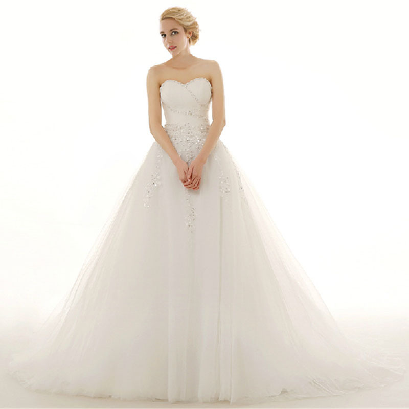 Trajes De Novia Sweetheart Tulle Wedding Dress 2015 Applique A Line Wedding Dresses Train Off Shoulder Sleeveless Bridal Gown