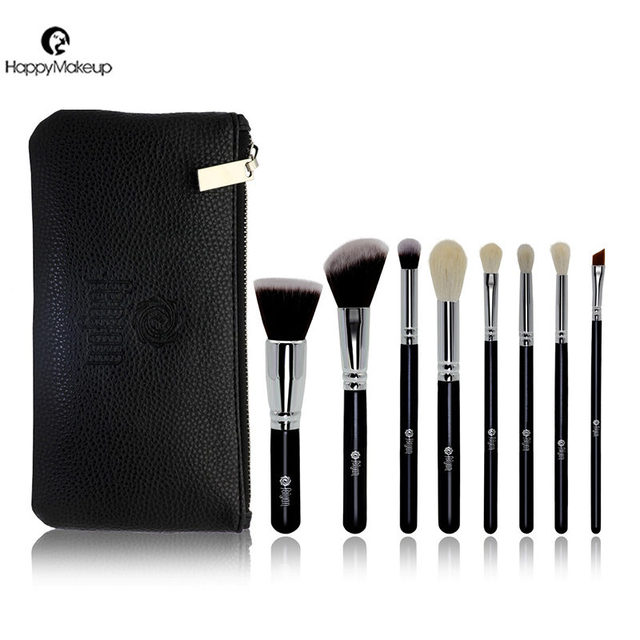 Professional 8 Pcs Goat and synthetic hair Makeup Cosmetic Brush Set With Your Own Logo