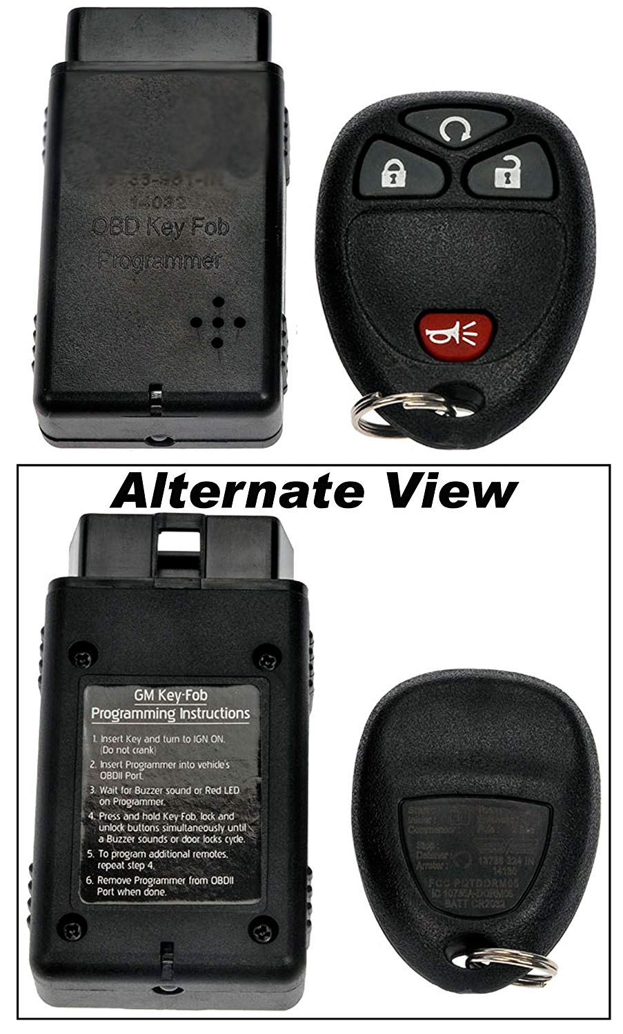 APDTY 24847 Replacement Keyless Entry Remote Key Fob Transmitter Assembly With Easy Self Programming Tool (Replaces GM Part Number 15114374 Only; You Must Have A Working Keyless Entry System)