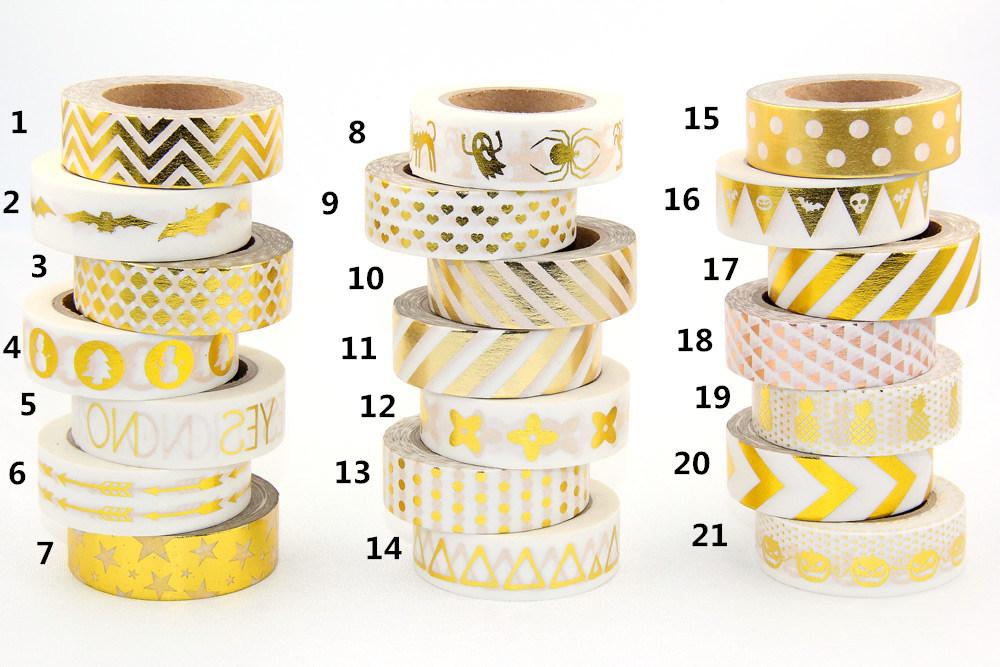 Hot sales 10m Gold Foil decorative scotch tape dot pineapple heart strip masking Christmas Japanese washi
