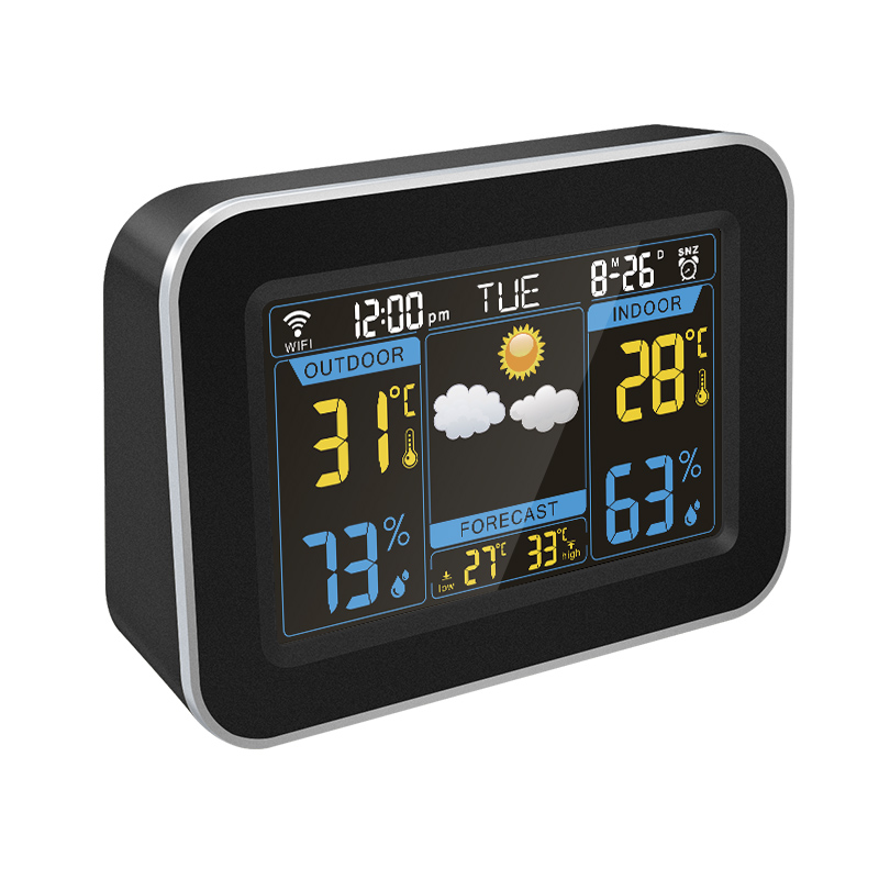 ABS di plastica di grandi dimensioni numero di display lcd a colori digitale stazione meteo desk alarm clock per la decorazione domestica