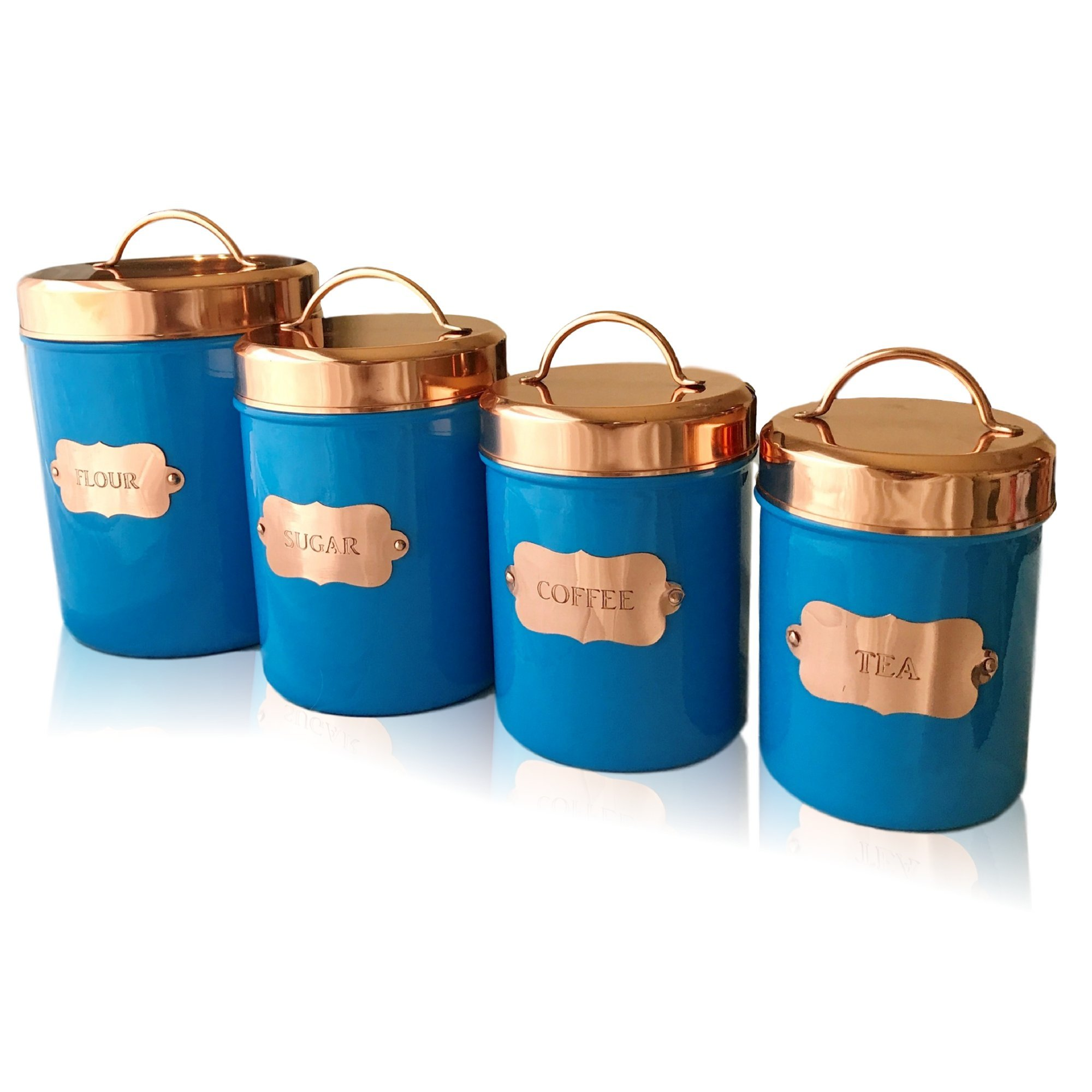 Get Quotations · Kauri Copper Kitchen Food Canister Sets By Design |  Decorative Food Storage Jars With Lids |