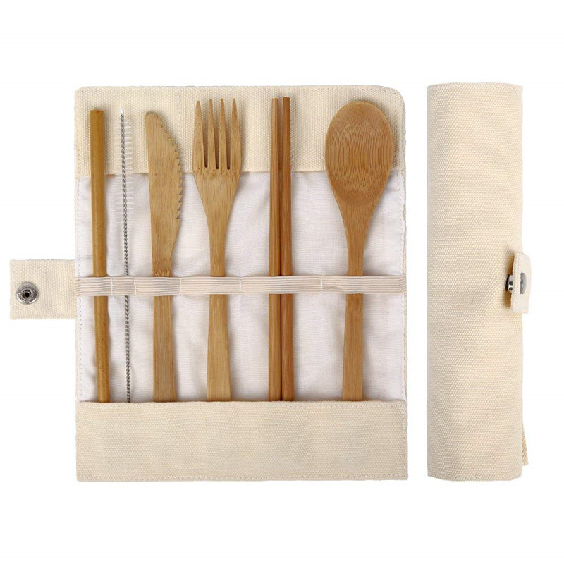 Home Japanese Style Wooden Dinnerware Set Bamboo Cutlery Straw Cutlery Set With Cloth Bag Kitchen Cooking Tools