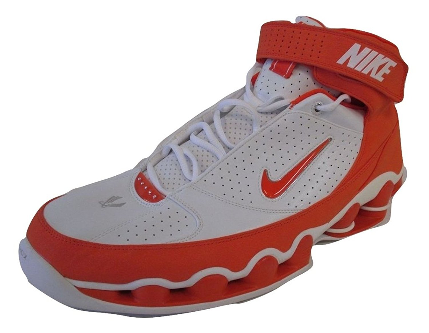 aacf855f98 Get Quotations · Nike Men's Shox Ups TB Basketball Shoes White/Safety  Orange 17 ...