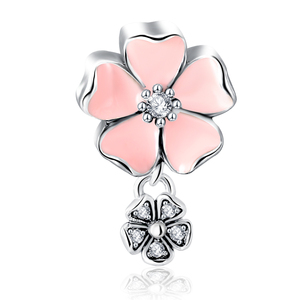 LZESHINE 925 Sterling Silver Jewelry Charm Pink Enamel Flower Pendant Bead with AAA Cubic Zircon for Party Jewelry PSMB0624