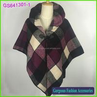 Very Fashionable 100% acrylic plaid wrap shawl designer poncho