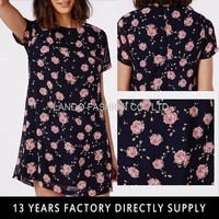 2015 New Design Young Ladies Flowers Patterns Printed T Shirt Dress