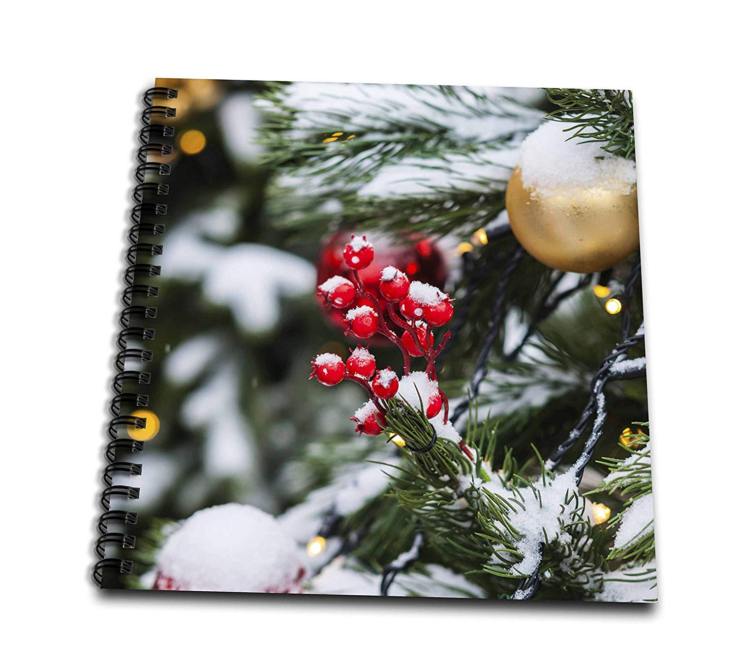 3dRose Alexis Photography - Holidays Christmas - Closeup view of a Christmas decoration on a snow covered spruce tree - Drawing Book 8 x 8 inch (db_275967_1)