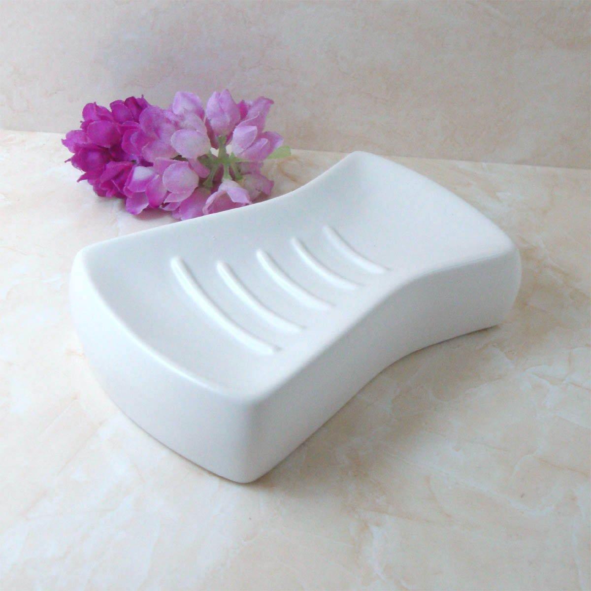 GTVERNH-Ceramic Soap Box Dish Soap Laundry Soap Pure White Amitsu Soap Rack Simple High-Grade Rectangular Handmade Soap Dish