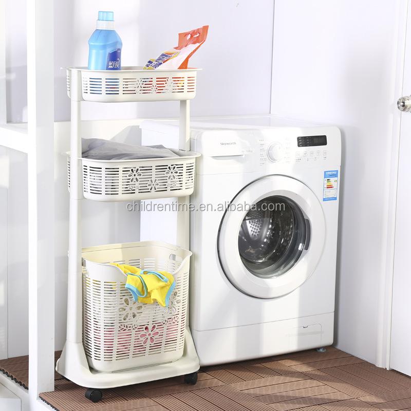 Badkamer vuile kleren opslag plastic wasmand met beweegbare wielen ...