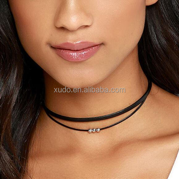 free shipping hot sale women statement choker necklace 2 layers velvet choker