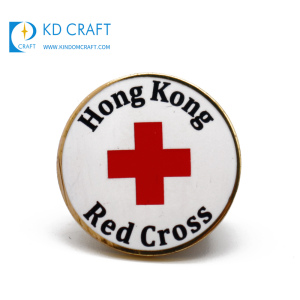 Wholesale china custom logo metal round shaped hard enamel gold plated red cross hong kong lapel pins