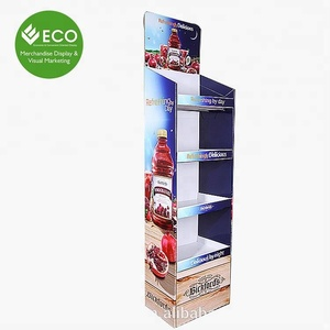 Hot Sale Beautiful Printing Cardboard Pop Up Corrugated Floor Display For Drink/Carton Display Stand Wholesale