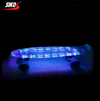 Wholesale 22inch skateboard LED skateboard USB charged transparent deck cruiser skateboard lights