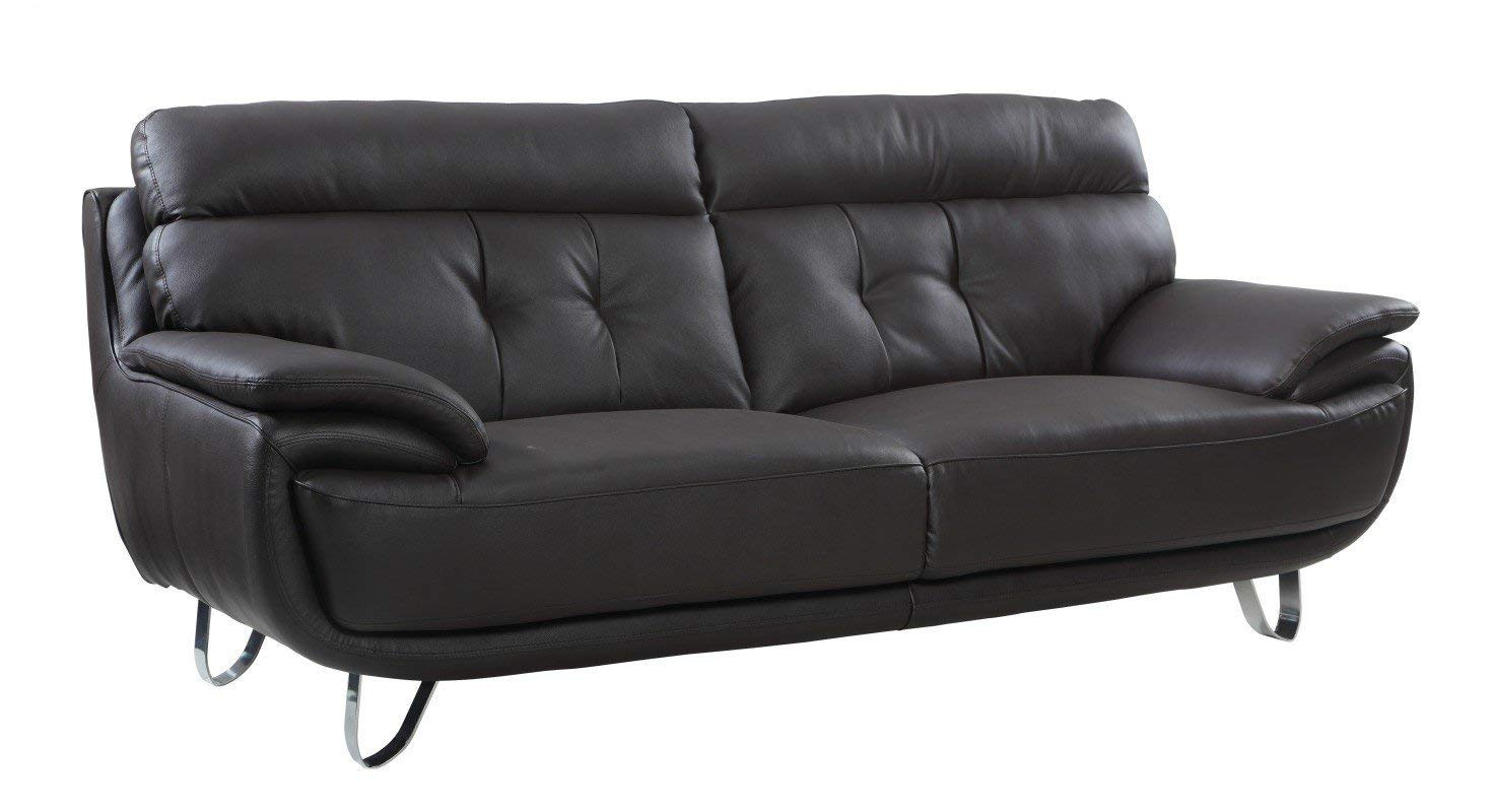 Blackjack Furniture A159-BROWN-S Contemporary Faux Leather Sofa, Brown