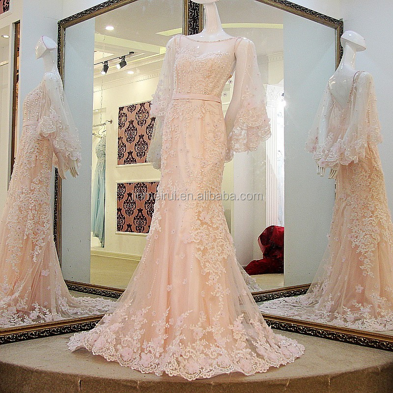 e2dd40acf4 New Fashion Illusion Scoop Neck Light Pink Long Evening Dresses 2017  Romantic Formal Evening Dress Beadings Appliques Women Gown - Buy Evening  Gowns ...