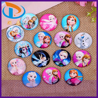 New Design Flat Back Round Dome Frozen Cartoon Glass Cabochons