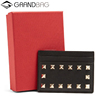 Custom Fashion Genuine Leather Gift Rockstud Credit Card Case Wallet Business Cardholder
