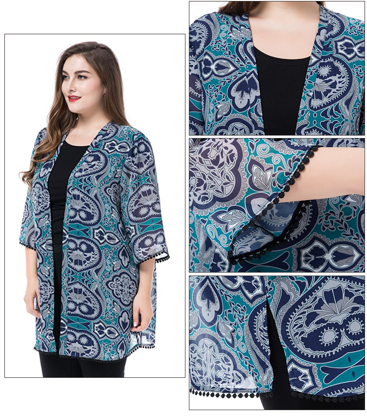 Factory Price Ladies Plus Size Floral Chiffon Cardigan New Style Big Size Printed Pattern Cardigan With Trimed Cuff And Hem