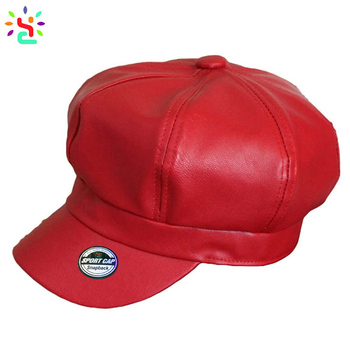 43b88b2c7e722 Wholesale baker boy cap men octagonal cap faux leather solid color Gatsby  newsboy driving cabbie cap