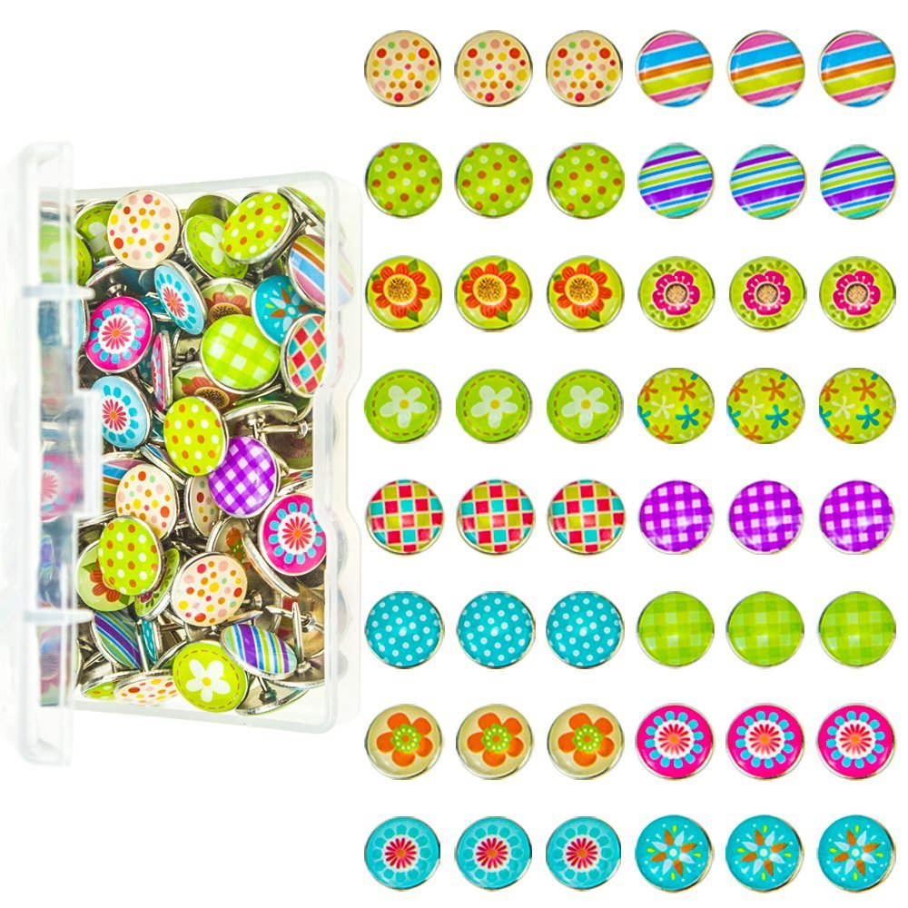 Jeffirm 112 Pieces Fashion Creative Steel Thumb Tacks Push Pins For Photos Wall, Maps, Bulletin Board or Cork Boards With a Store Box