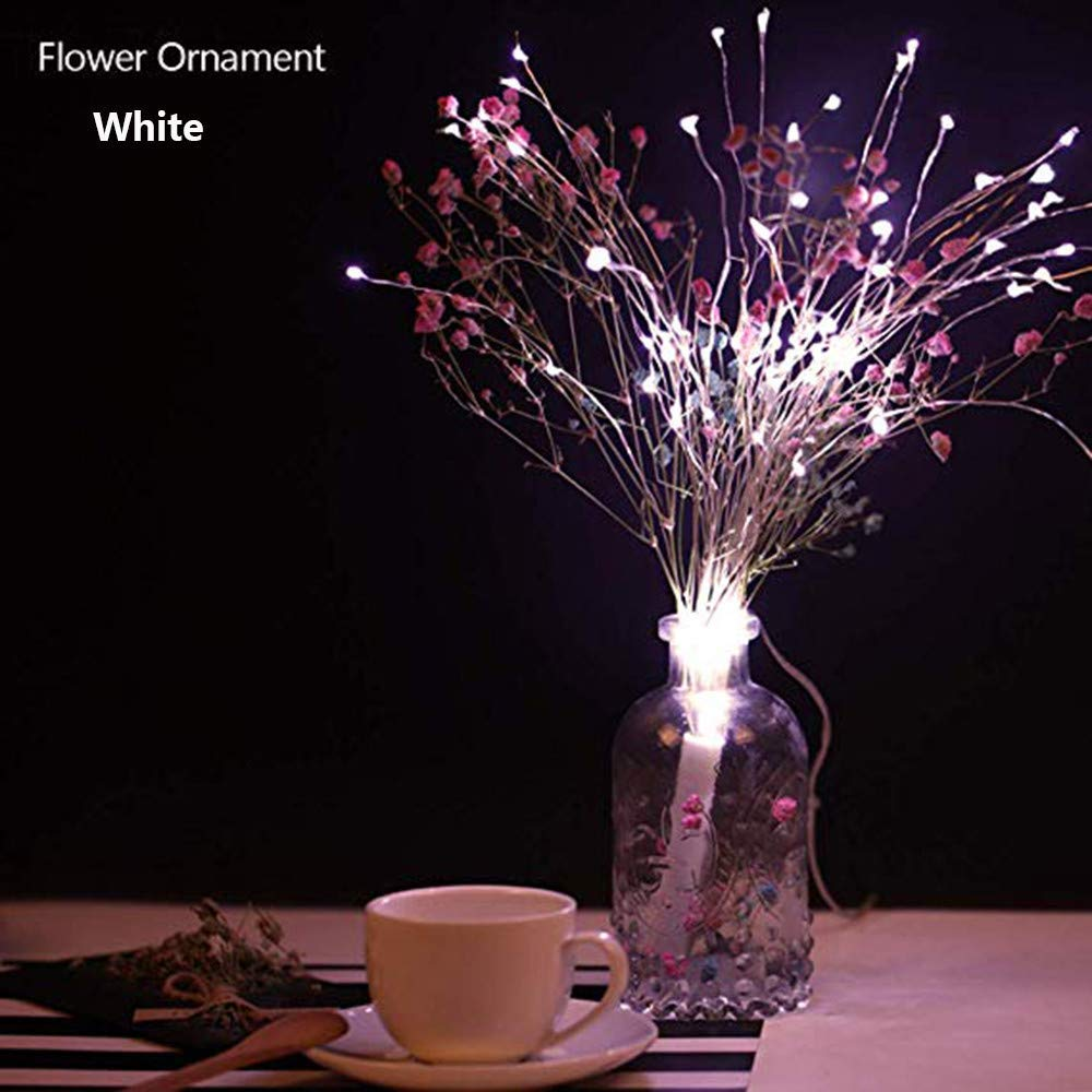 Yezijin Firework Solar Power LED String Copper Wire Fairy Lights Xmas Party Decor Lamp (White)